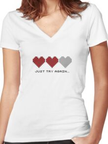 8bit Hearts - Just try again Women's Fitted V-Neck T-Shirt