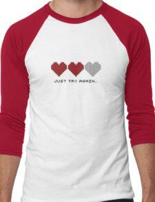 8bit Hearts - Just try again Men's Baseball ¾ T-Shirt