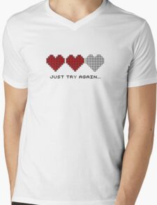 8bit Hearts - Just try again Mens V-Neck T-Shirt