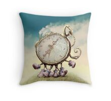 Cute Walking watch, wonderland Throw Pillow