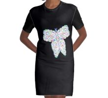 Rainbow Butterfly Graphic T-Shirt Dress
