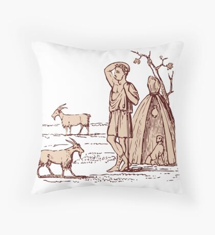 Ancient Greek Goatherd Throw Pillow