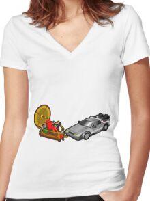 Zeitmaschinenschaden - crash in the fourth dimension Women's Fitted V-Neck T-Shirt