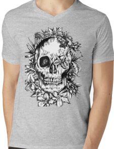 floral skull 1 Mens V-Neck T-Shirt