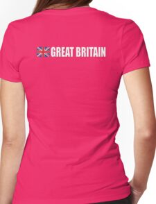GREAT BRITAIN, GB, Union Jack, Team, Sport, British Flag, UK, United Kingdom, White on BLACK Womens Fitted T-Shirt