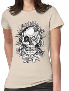floral skull 2 Womens Fitted T-Shirt
