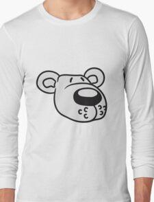 polar bear face head sweet cute comic cartoon teddy dick big Long Sleeve T-Shirt
