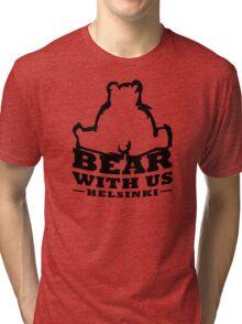 Bear With Us Helsinki, Sitting heavy bear Tri-blend T-Shirt