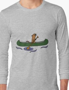 Funny Funky Cool Sea Otter Canoeing Long Sleeve T-Shirt