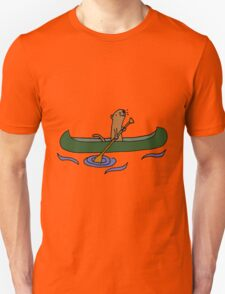 Funny Funky Cool Sea Otter Canoeing Unisex T-Shirt