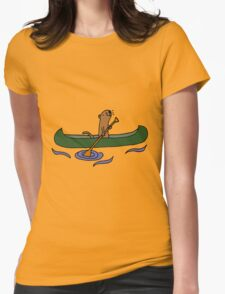 Funny Funky Cool Sea Otter Canoeing Womens Fitted T-Shirt