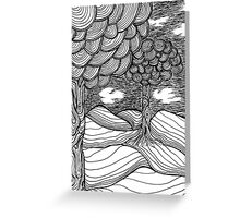 Rolling Pen and Ink Landscape Sketch Black and White Greeting Card