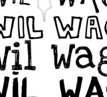 Wil Wagner Font Logo - Light Colours Sticker