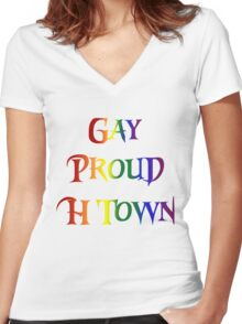 Gay Pride H Town Women's Fitted V-Neck T-Shirt
