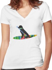 Colorful Stand Up Paddle Board Preppy Black Lab Women's Fitted V-Neck T-Shirt