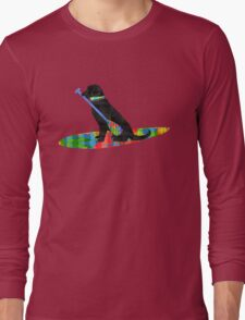 Colorful Stand Up Paddle Board Preppy Black Lab Long Sleeve T-Shirt
