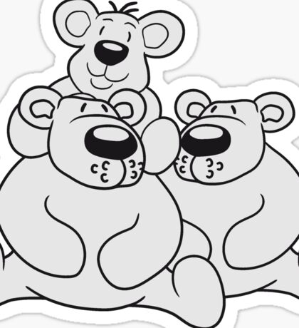 only child papa mama child family son daughter team polar bear sitting sweet cute comic cartoon teddy bear shoulders sitting dick big Sticker