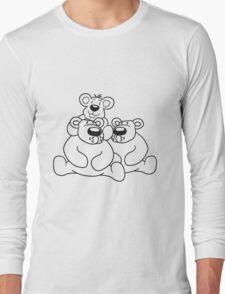 only child papa mama child family son daughter team polar bear sitting sweet cute comic cartoon teddy bear shoulders sitting dick big Long Sleeve T-Shirt