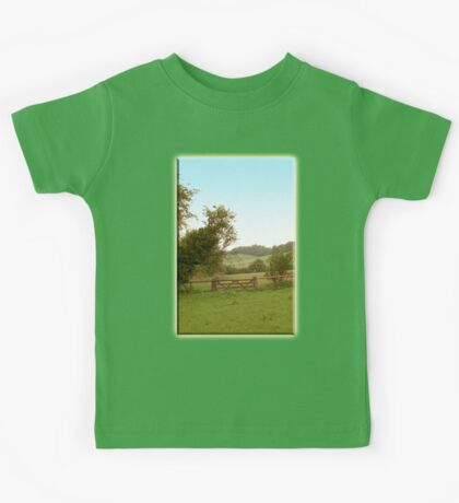 English Meadow, Countyside, Field, Hills, Green & pleasant land, UK, Britain, British, Kids Tee
