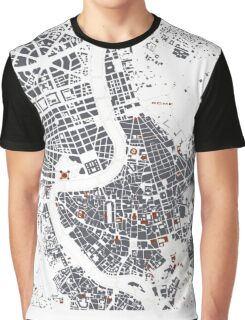 Rome city map engraving Graphic T-Shirt