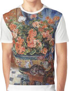 Renoir Auguste - Geraniums And Cats Graphic T-Shirt