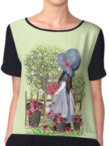 Cute girl with roses Chiffon Top