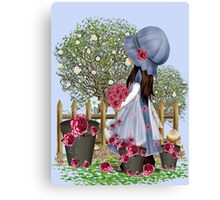 Cute girl with roses Canvas Print