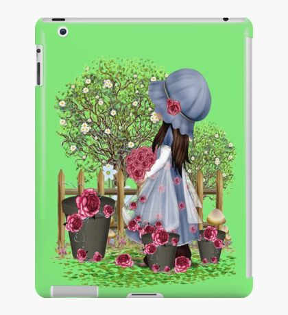 Cute girl with roses iPad Case/Skin