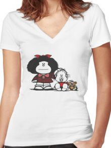 Mafalda & Brother's Women's Fitted V-Neck T-Shirt