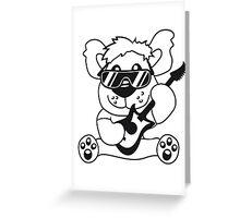 electric guitar electro guitar rocker heavy metal hard rock bass band music party concert Teddy Bear comic cartoon sweet cute Greeting Card