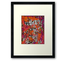 Orange and Grey Abstract by Laura L. Leatherwood Framed Print