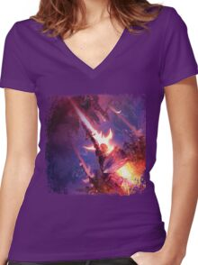 FFXIV A Realm Awoken Women's Fitted V-Neck T-Shirt