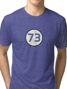 Sheldon Cooper - Distressed Vanilla Cream Circle 73 Transparent Variant Tri-blend T-Shirt