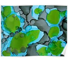 Grey, Green, & Blue Abstract Poster
