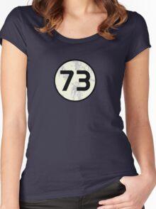 Sheldon Cooper - Distressed Vanilla Cream Circle 73 Black Standard Women's Fitted Scoop T-Shirt