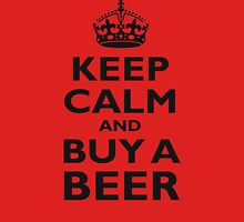 KEEP CALM, BUY A BEER, ON RED, UK, GB Unisex T-Shirt