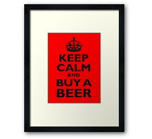 KEEP CALM, BUY A BEER, ON RED, UK, GB Framed Print