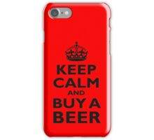 KEEP CALM, BUY A BEER, ON RED, UK, GB iPhone Case/Skin