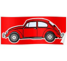 VW, Volkswagen, Beetle, Bug, Motor, Car, RED Poster