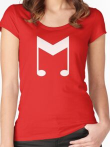 Music Symbol (White) Women's Fitted Scoop T-Shirt
