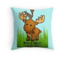 Moose and Squirrel Throw Pillow