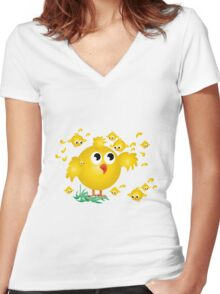 Chicks in yellow Women's Fitted V-Neck T-Shirt
