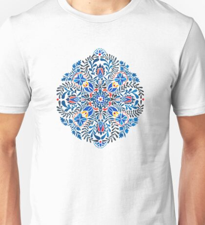 Blue, yellow, orange floral mandala pattern Unisex T-Shirt