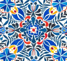 Blue, yellow, orange floral mandala pattern Sticker