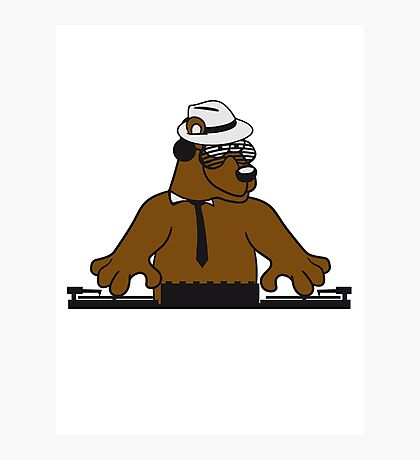 disco mischpult hang plates dj party ribbon bass buttons play dance hat cool club concert hardrock heavy metal teddy bear Photographic Print