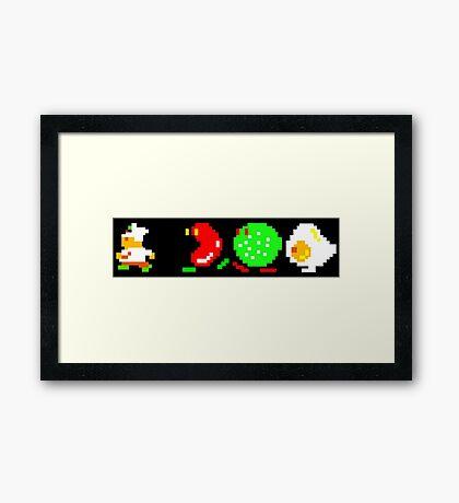 BurgerTime Retro Chase Graphic Framed Print