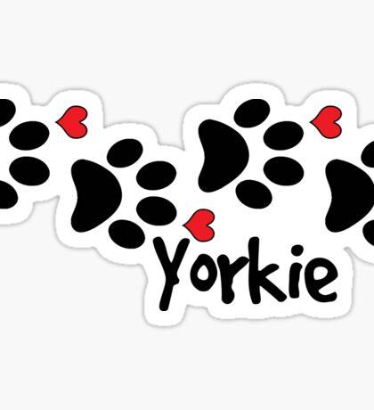 DOG PAWS LOVE YORKIE YORKSHIRE TERRIER DOG PAW I LOVE MY DOG YORKIES PET PETS PUPPY STICKER STICKERS DECAL DECALS Sticker