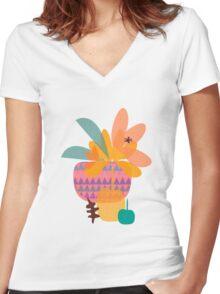 Tropical T-shirt femme moulant col V