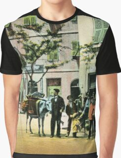 Vintage Gibraltar vegetables seller, street scene Graphic T-Shirt