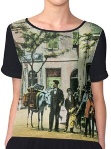 Vintage Gibraltar vegetables seller, street scene Chiffon Top